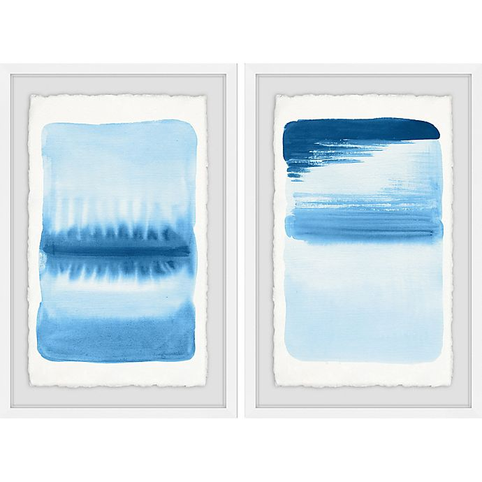 Alternate image 1 for Marmont Hill Blue Flows 24-Inch x 18-Inch Framed Diptych Wall Art (Set of 2)