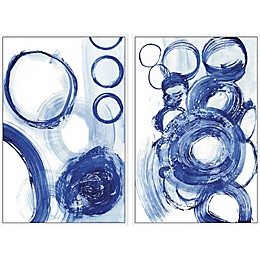 Marmont Hill Blue Circle Framed Diptych Wall Art
