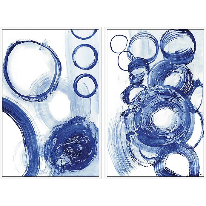 Alternate image 1 for Marmont Hill Blue Circle 24-Inch x 18-Inch Framed Diptych Wall Art