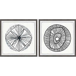 Marmont Hill Weaved Floral II Framed Diptych Wall Art (Set of 2)
