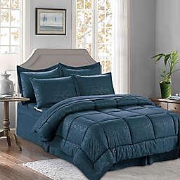 Bamboo Pattern 8-Piece Full/Queen Comforter Set in Black