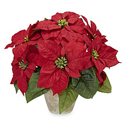 Nearly Natural 13-Inch Poinsettia with Ceramic Vase Silk Flower Arrangement
