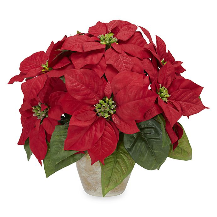 Alternate image 1 for Nearly Natural 13-Inch Poinsettia with Ceramic Vase Silk Flower Arrangement