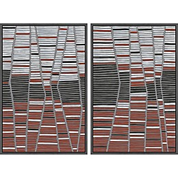 Marmont Hill Trio Stripes Diptych Framed Wall Art (Set of 2)