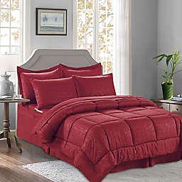 Bamboo Pattern 6-Piece Twin/Twin XL Comforter Set in Burgundy