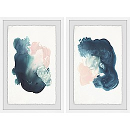 Marmont Hill Watercolor Smudge Framed Diptych Wall Art