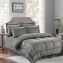 Bamboo Pattern 8-Piece King/California King Comforter Set in Grey