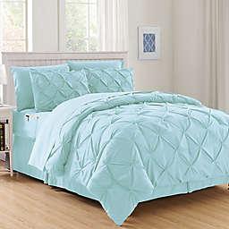 Hi-Loft Luxury Pintuck 8-Piece Full/Queen Comforter Set in Aqua