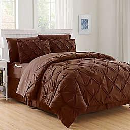 Hi-Loft Luxury Pintuck 8-Piece King/California King Comforter Set in Chocolate Brown
