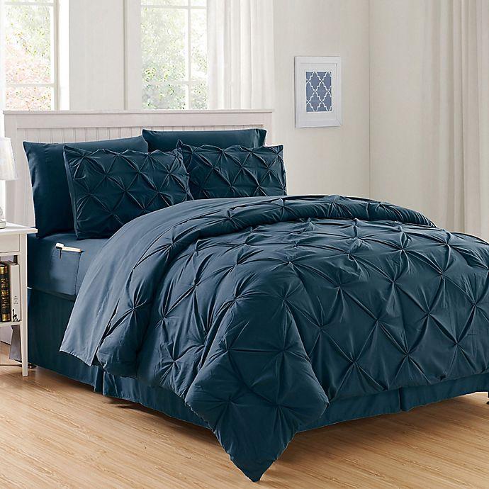 Alternate image 1 for Hi-Loft Luxury Pintuck 6-Piece Twin/Twin XL Comforter Set in Navy/Blue