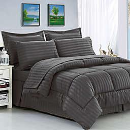 Elegant Comfort Dobby Stripe Comforter Set