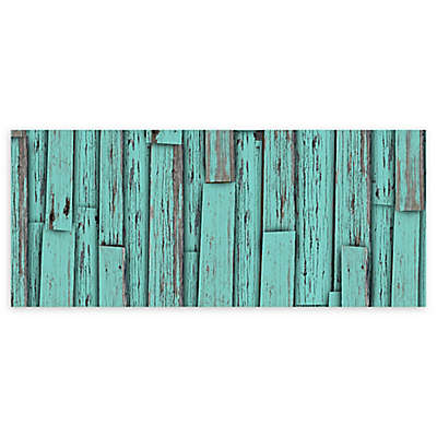 "FoFlor Crude Plank 25"" x 60"" Kitchen Runner in Aqua/Grey"
