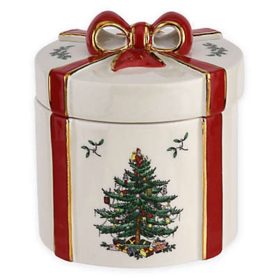 Spode® Christmas Tree Gift Box Decoration in White/Red (Set of 2)
