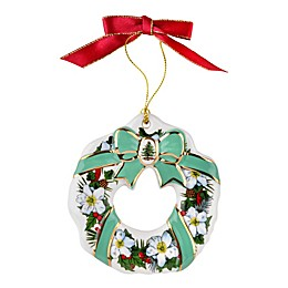 Spode® Christmas Tree Flowers and Ribbons Wreath Ornament