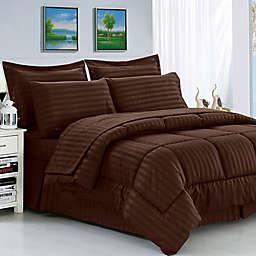 Elegant Comfort Dobby Stripe 8-Piece King/California King Comforter Set in Chocolate