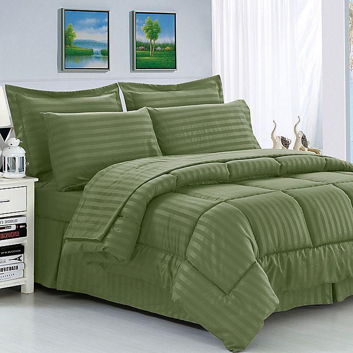 Alternate image 1 for Elegant Comfort Dobby Stripe Comforter Set