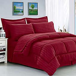 Elegant Comfort Dobby Stripe 8-Piece King/California King Comforter Set in Burgundy