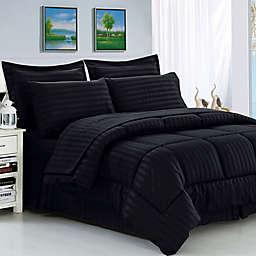 Elegant Comfort Dobby Stripe 8-Piece Full/Queen Comforter Set in Black