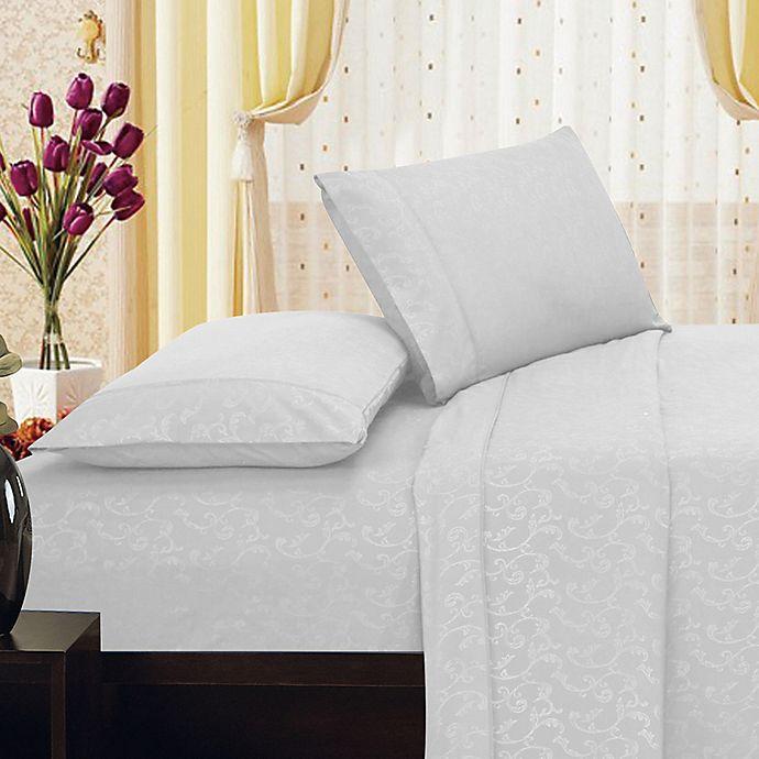 Alternate image 1 for Elegant Comfort Floral Embossed Twin Sheet Set in White