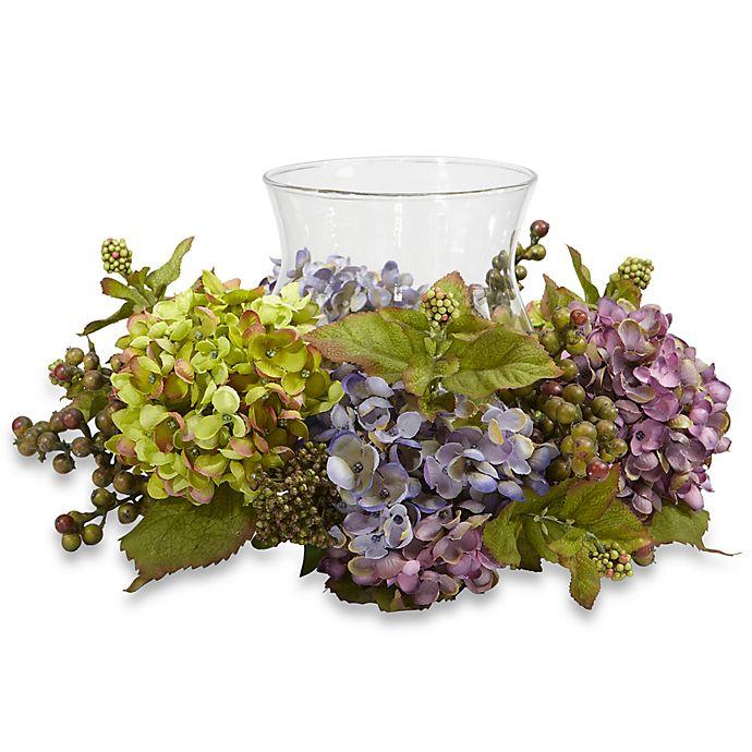 Alternate image 1 for Nearly Natural 7-Inch Mixed Hydrangea Candelabrum Silk Arrangement