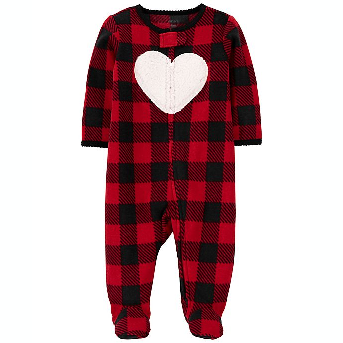 Alternate image 1 for carter's® Size 9M Buffalo Check Fleece Sleep 'N Play in Red