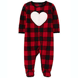 carter's® Size 3M Buffalo Check Fleece Sleep 'N Play in Red