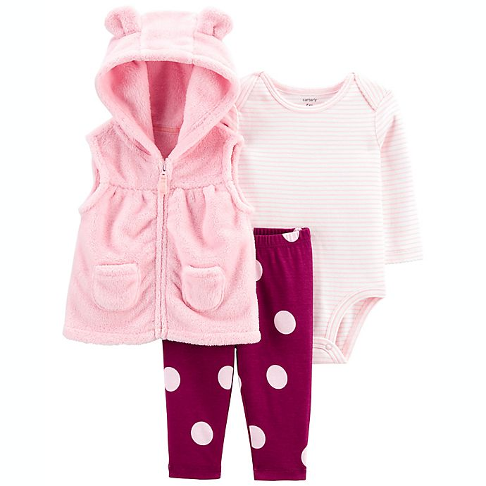 Alternate image 1 for carter's® 3-Piece Polka Dot Vest, Bodysuit and Pant Set in Pink