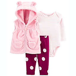 carter's® 3-Piece Polka Dot Vest, Bodysuit and Pant Set in Pink