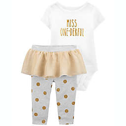 carter's® 2-Piece Birthday Girl Bodysuit and Tutu Pant Set in White/Gold