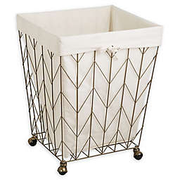 Honey-Can-Do® Coastal Chevron Rolling Hamper in Bronze