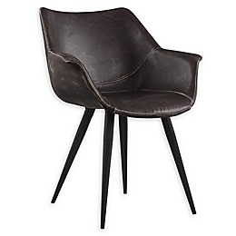 Donny Osmond Home™ Modern Faux Leather Dining Chairs in Brown/Grey (Set of 2)