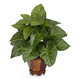 Nearly Natural 17-Inch Taro Silk Plant in Green with Wood Pot