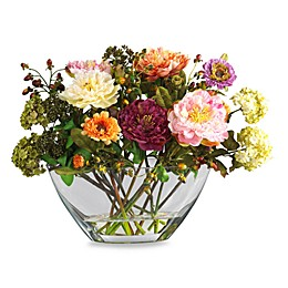 Nearly Natural 14-Inch Mixed Peony with Glass Vase