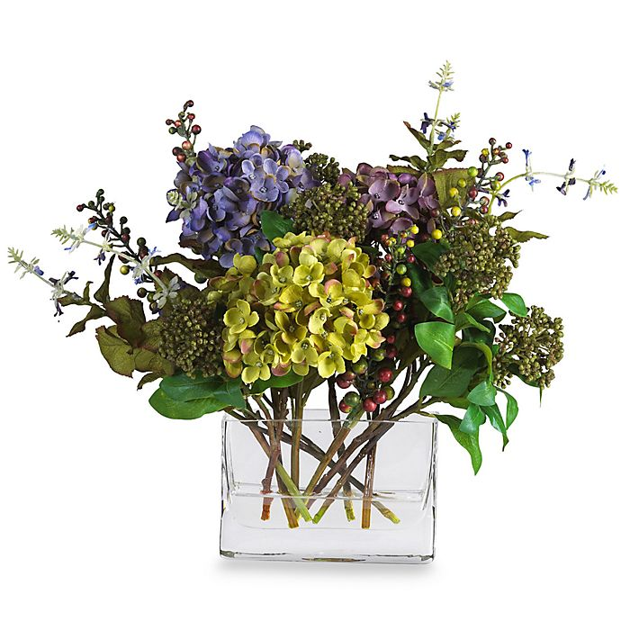 Alternate image 1 for Nearly Natural 12-Inch Mixed Hydrangea with Rectangle Vase Silk Flower Arrangement