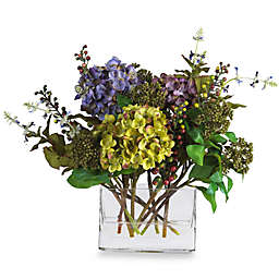 Nearly Natural 12-Inch Mixed Hydrangea with Rectangle Vase Silk Flower Arrangement