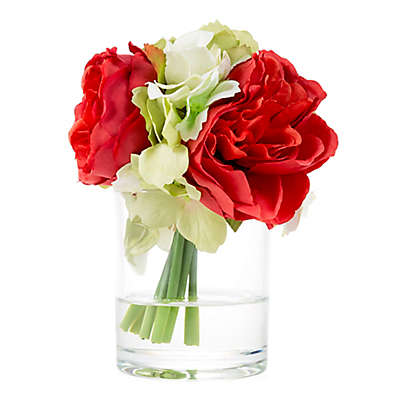 Pure Garden Artificial Hydrangea and Rose Floral Arrangement with Glass Vase