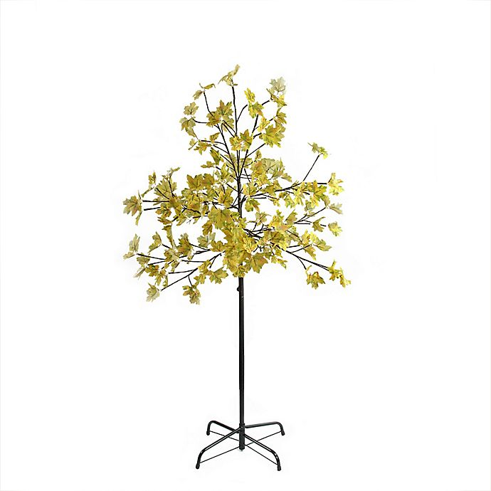 Alternate image 1 for Northlight 5-Foot LED Lighted Artificial Fall Harvest Yellow Maple Leaf Tree
