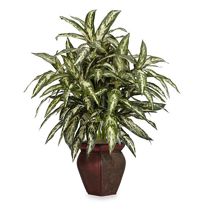 Alternate image 1 for Nearly Natural 30-Inch Aglaonema w/ Decorative Vase Silk Plant