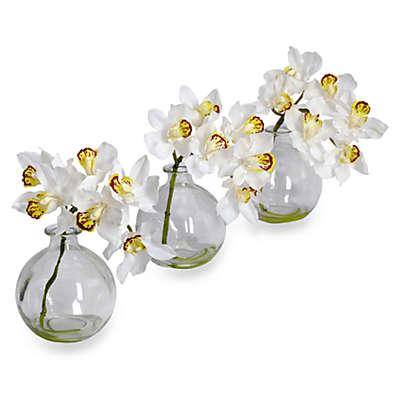 Nearly Natural 31-Inch Cymbidium w/ Vase Silk Flower Arrangement (Set of 3)
