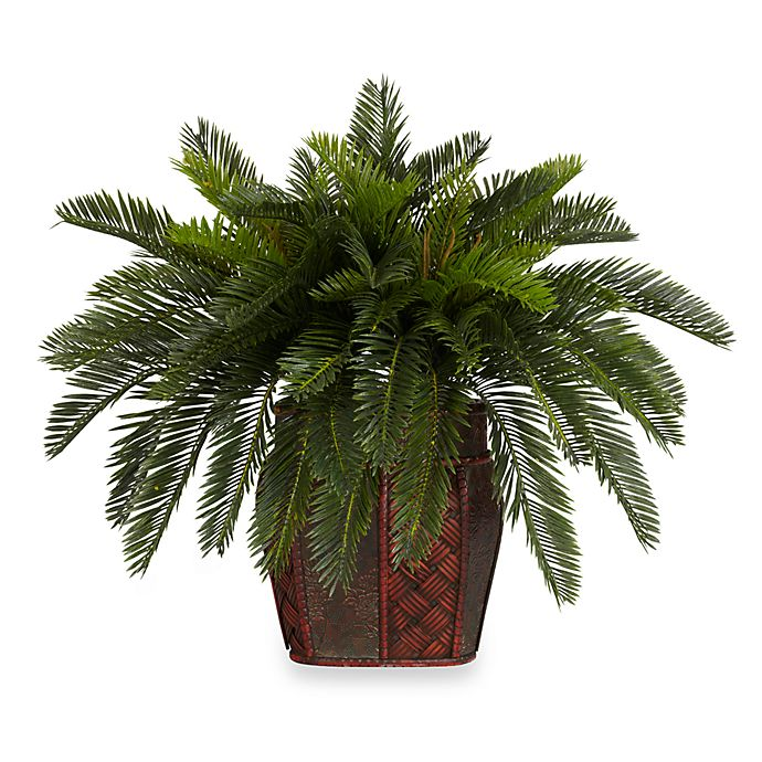 Alternate image 1 for Nearly Natural 19-Inch Double Cycas w/ Vase Silk Plant
