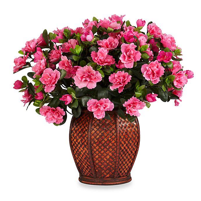 Alternate image 1 for Nearly Natural 20-Inch Azalea w/ Vase Silk Plant