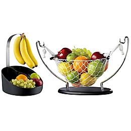 Prodyne Bravada Fruit Bin and Fruit Hammock Collection in Black/Silver