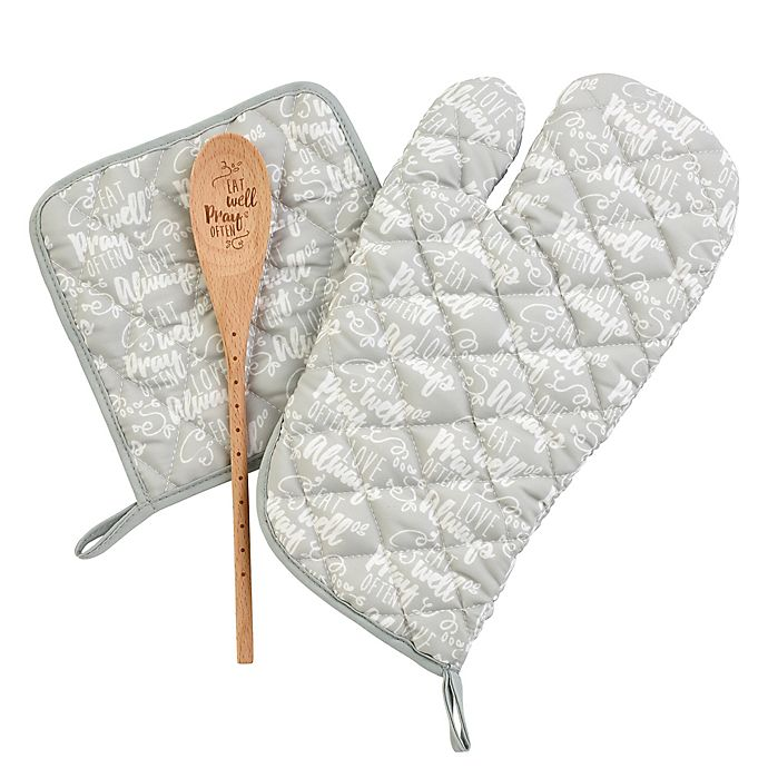 Alternate image 1 for Precious Moments® Oven Mitt/Pot Holder/Spoon Set