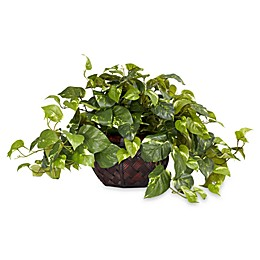 Nearly Natural 15-Inch Pothos w/ Decorative Vase Silk Plant