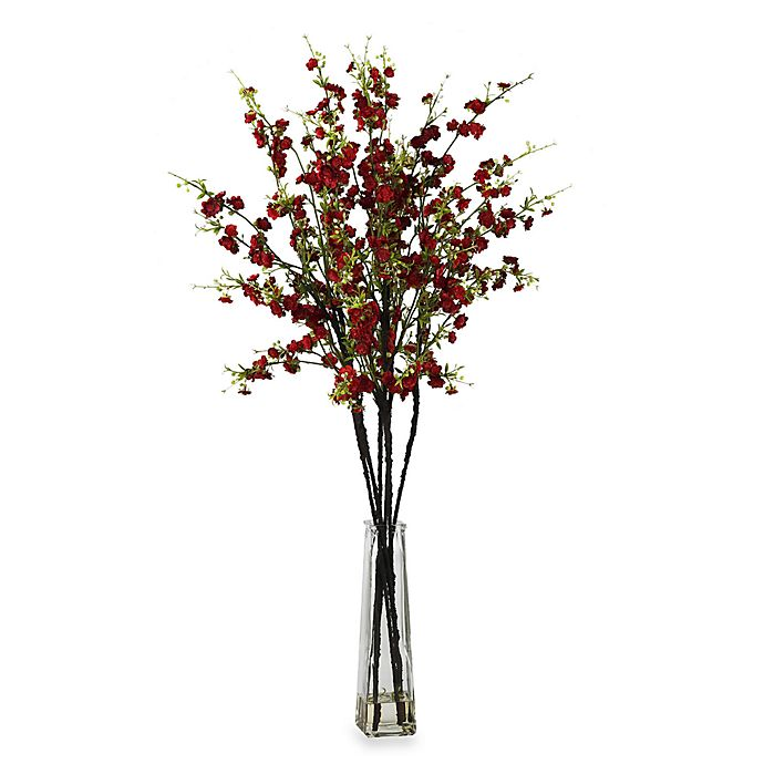 Alternate image 1 for Nearly Natural Cherry Blossoms w/ Vase Silk Flower Arrangement in Red