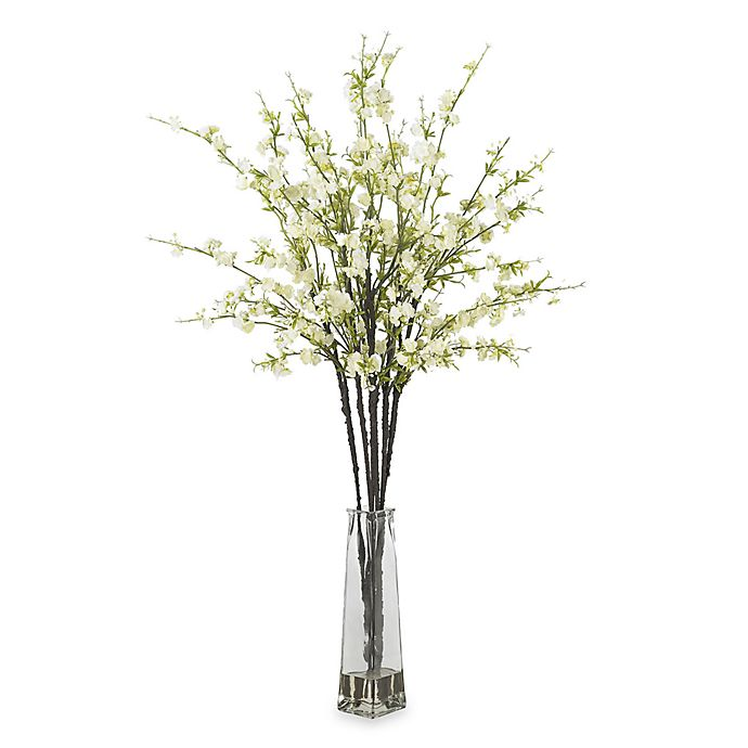 Alternate image 1 for Nearly Natural Cherry Blossoms w/ Vase Silk Flower Arrangement in White