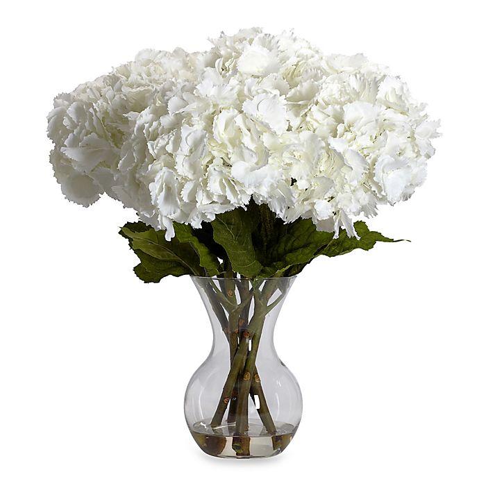 Alternate image 1 for Nearly Natural Large Hydrangea w/ Vase Silk Flower Arrangement