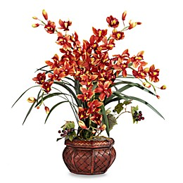 Nearly Natural 30-Inch Cymbidium w/ Decorative Vase Silk Arrangement - Burgundy