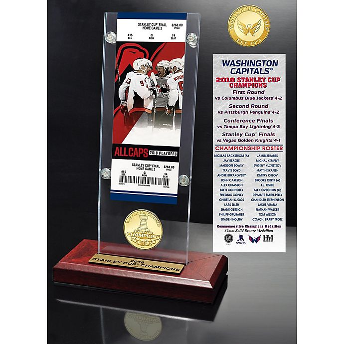 Alternate image 1 for NHL Washington Capitals 2018 Stanley Cup Champions Acrylic Desk Top Ticket and Coin Holder