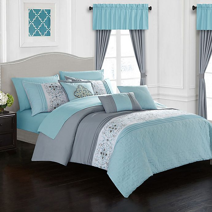 Alternate image 1 for Chic Home Jurgen 20-Piece Queen Comforter Set in Aqua Blue